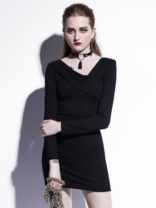 Black Asym Long Sleeve Women's Bodycon Dress