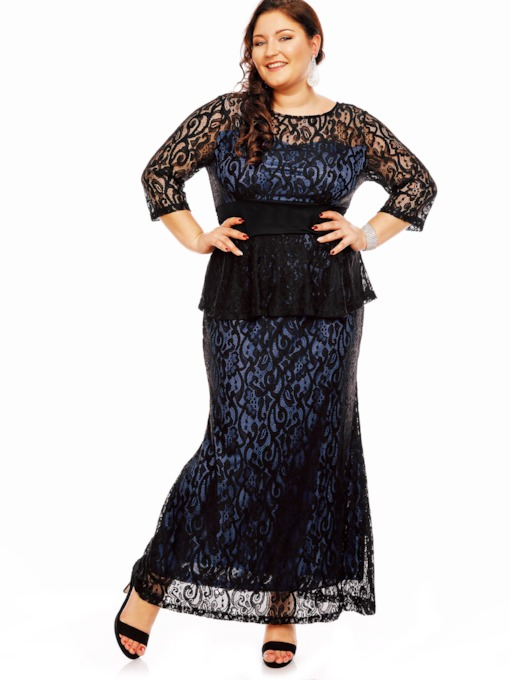 Plus Size Blue Lace Women's Maxi Dress