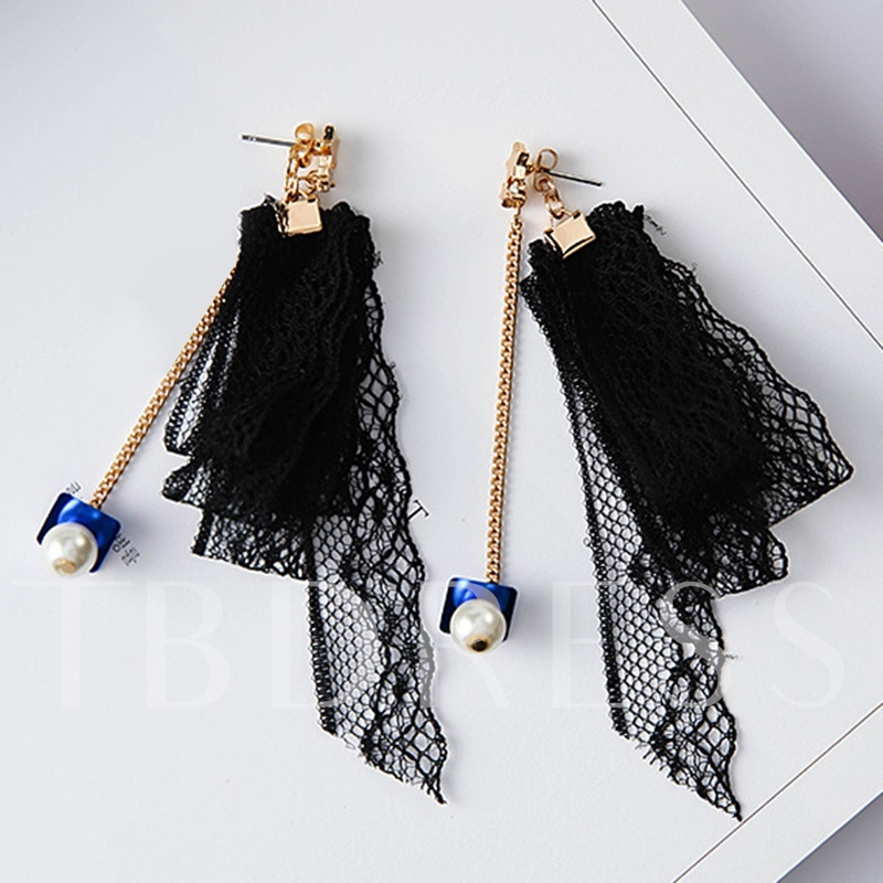 Alloy Chain Black Lace Dangle Tassels Earrings