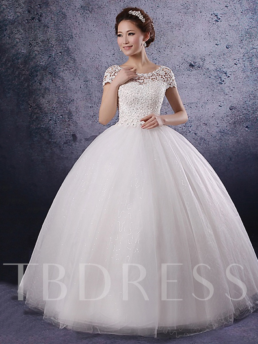 Princess Short Sleeves Lace Corset Bodice Wedding Dress - Tbdress.com
