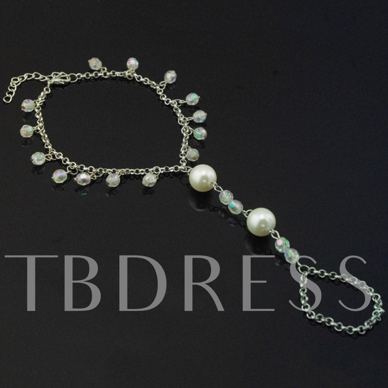 Artificial Pearls Beading Tassels Anklet