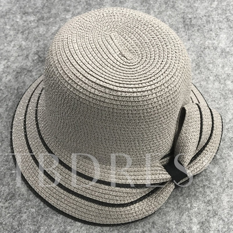 Large Brim Design Twisted Bowknot Foldable Straw Hat
