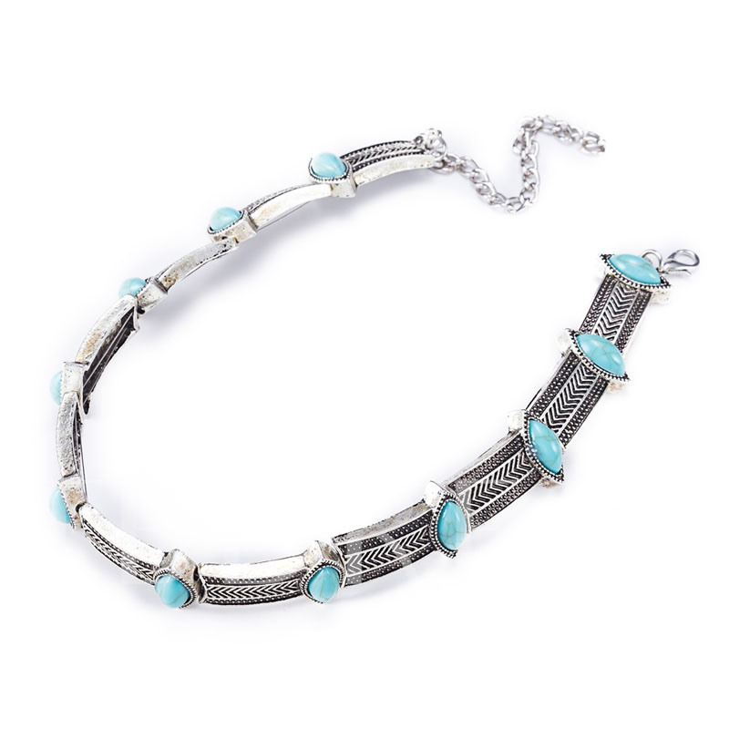 Zinc Alloy Blue Resin Imitation Turquoise Necklace