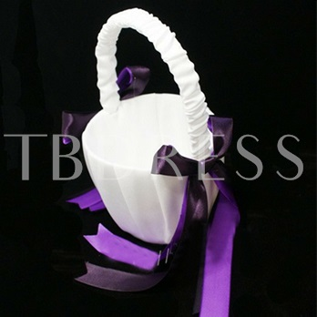Flower Basket in Satin With Purple Bow