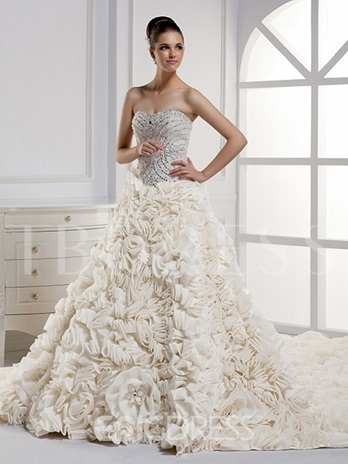 Strapless Ruffles Chapel Train Wedding Dress