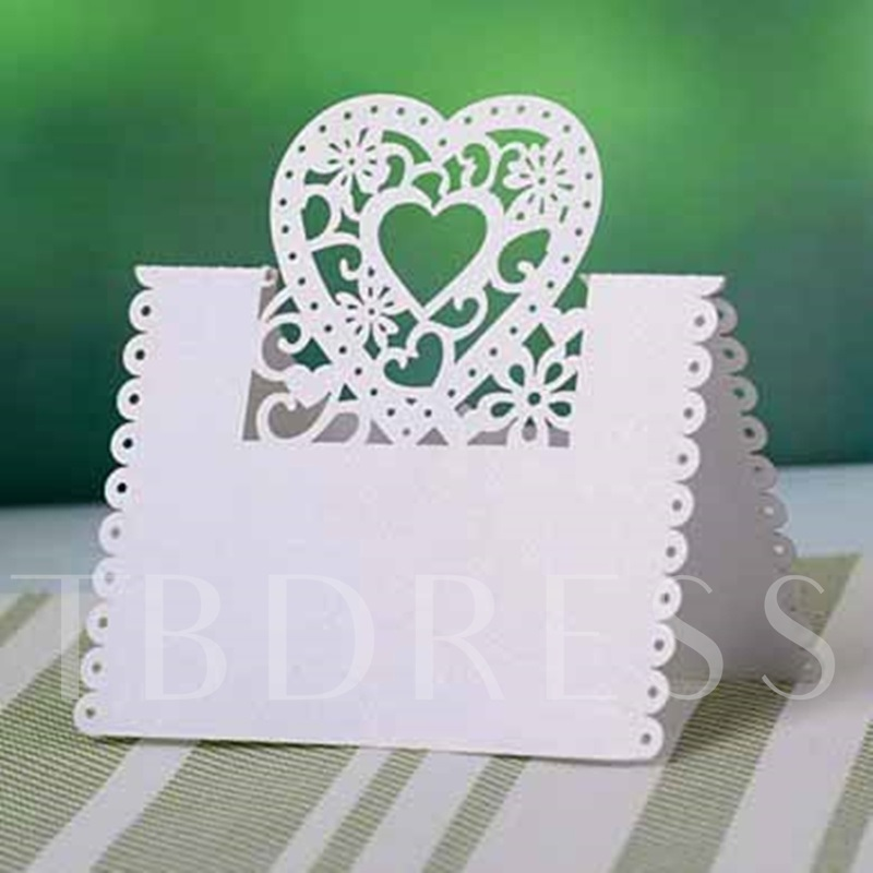 Heart Shape Design Pearl Paper Place Cards set of 10