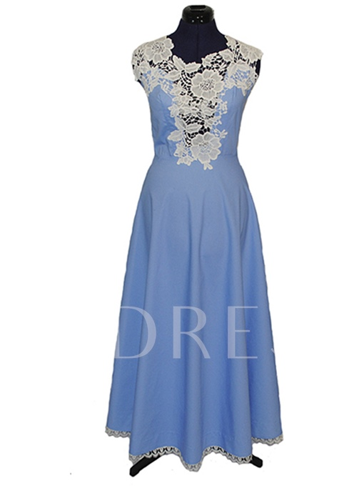 Sleeveless Polyester Expansion Lace Women's Day Dress