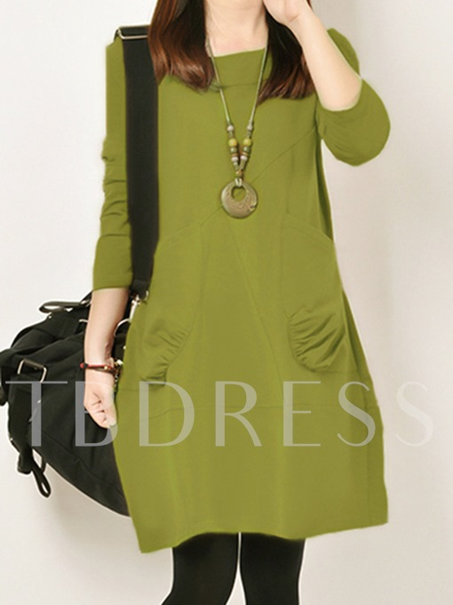 Double Pockets Comfortable Women's Long Sleeve Dress