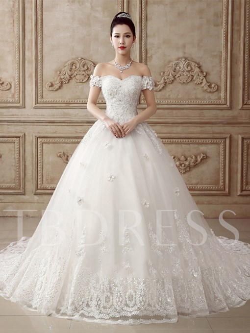 Off-The-Shoulder Appliques Bowknot Wedding Dress
