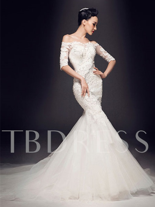 Half Sleeves Mermaid Appliques Beadings Wedding Dress