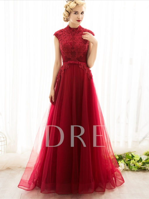Appliques High Neck Beading A-Line Bowknot Sashes Evening Dress