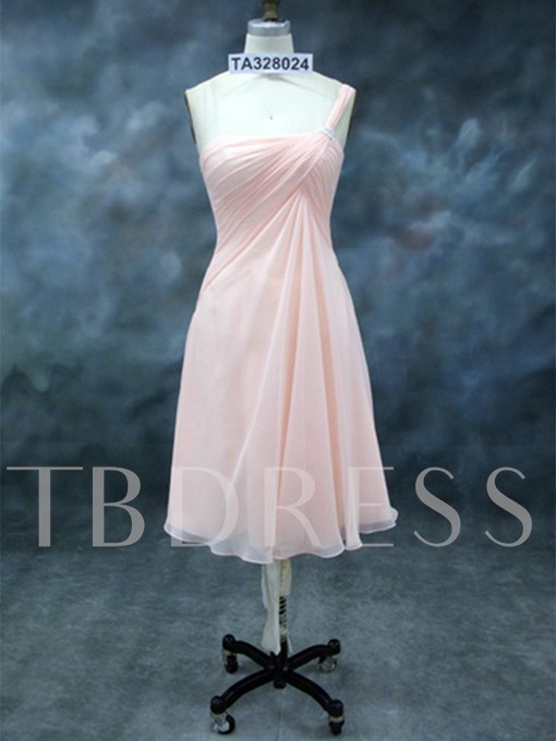 Ruched A-Line One-Shoulder Short Bridesmaid Dress