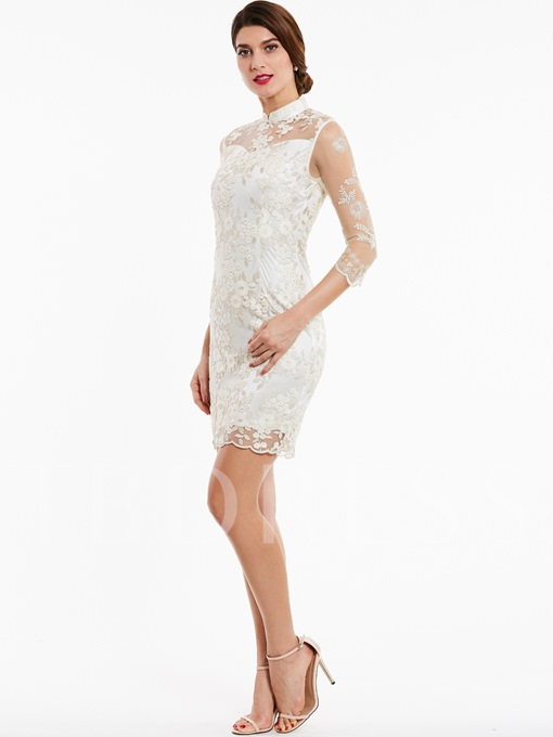 High Neck Zipper-Up Appliques Lace Evening Dress