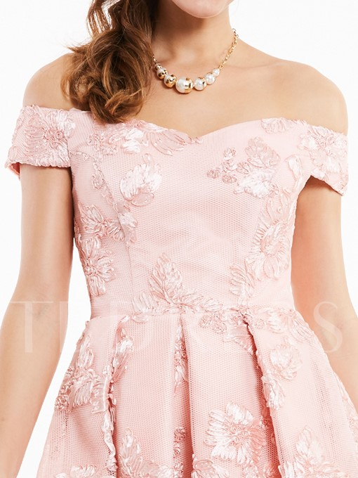 Off-the-Shoulder Lace-Up Appliques Cocktail Dress