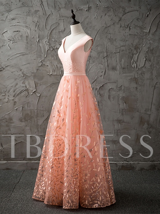 A-Line Lace V-Neck Pearls Sashes Floor-Length Prom Dress