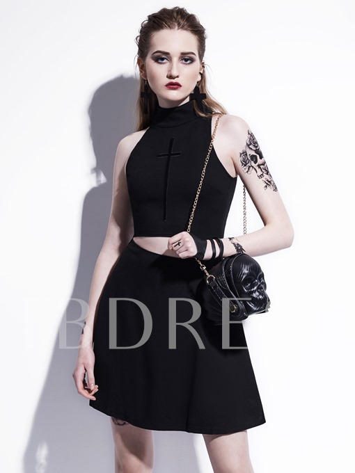 Black Sleeveless Double-Layered Women's Day Dress