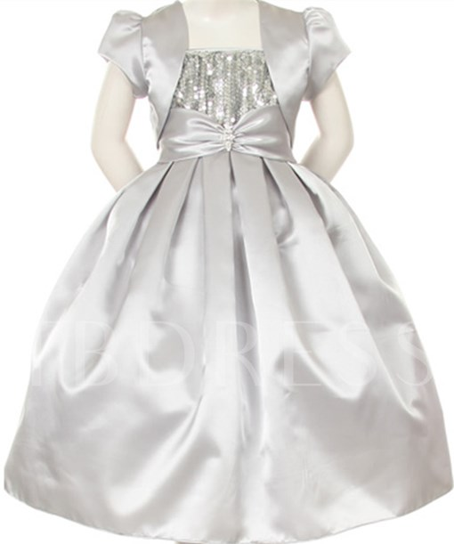 Sequins Bowknot Flower Girl Dress With Jacket