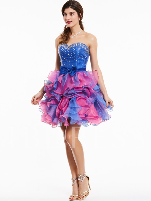Sweetheart Zipper-Up Beaded Bowknot Cocktail Dress