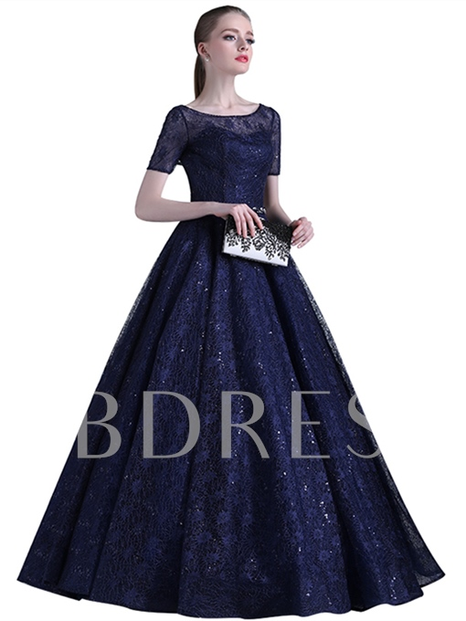 Scoop Beading Ball Gown Lace Sashes Sequins Floor-Length Evening Dress