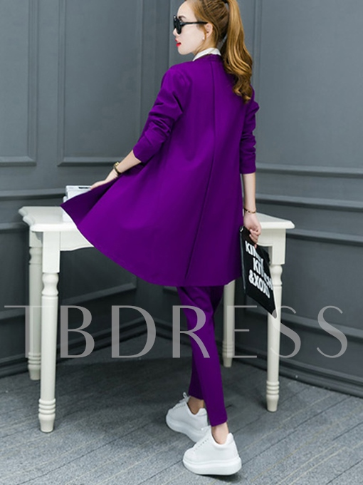 Plain Long Sleeve Wrapped Women's Suit