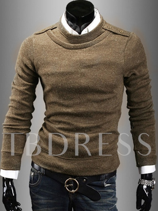 Round Collar Knit Solid Color Slim Fit Men's Sweater
