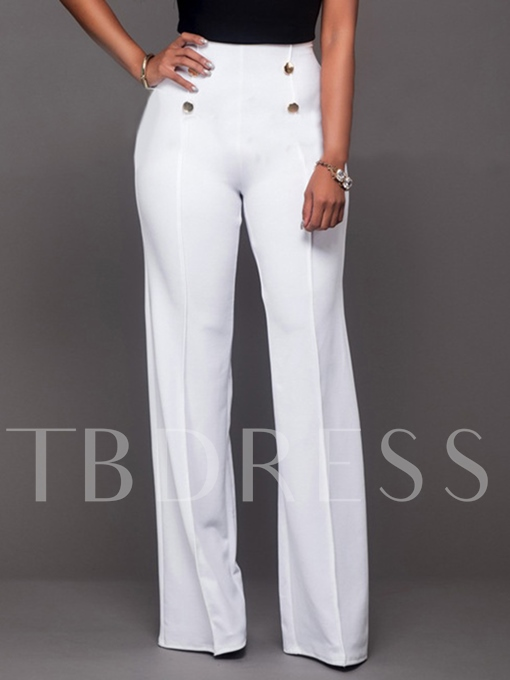 High-Waist Button Full Length Wide Legs Women's Pants
