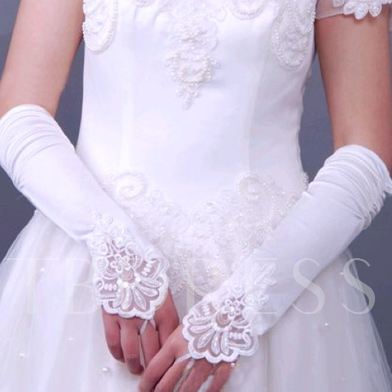 Long Fingerless Satin Wedding Gloves