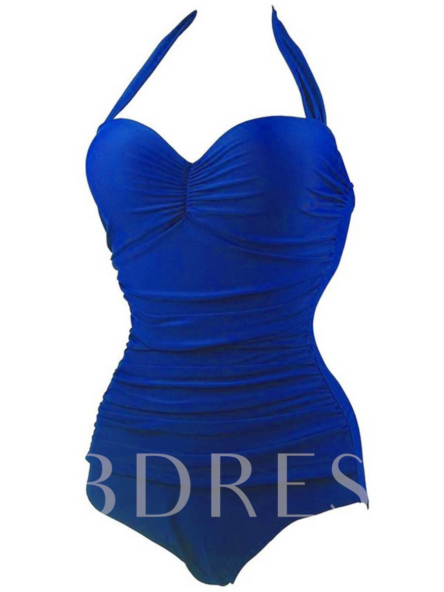 Solid Color Pleated Halter One-Piece Swimwear