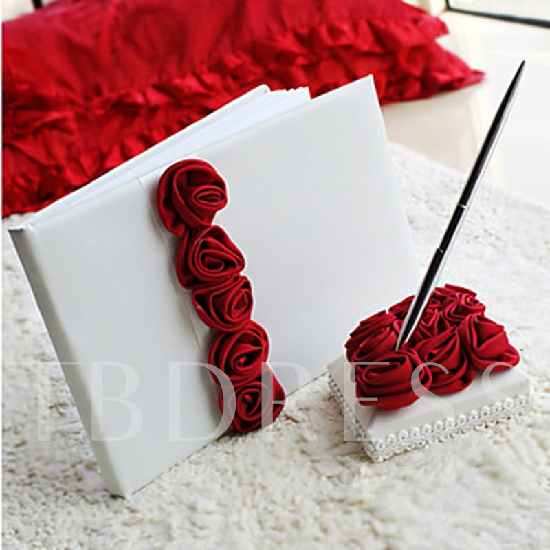 Bold Red Rose Lined Wedding Guest Book and Pen Set