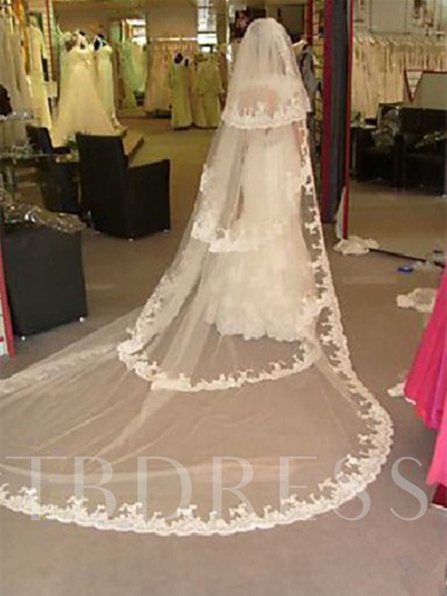 Cathedral Length White Lace Wedding Bridal Veil