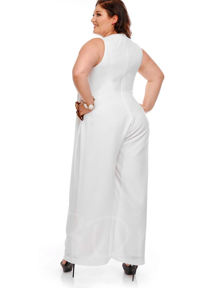 Plus Size White Wide Legs Women's Jumpsuit
