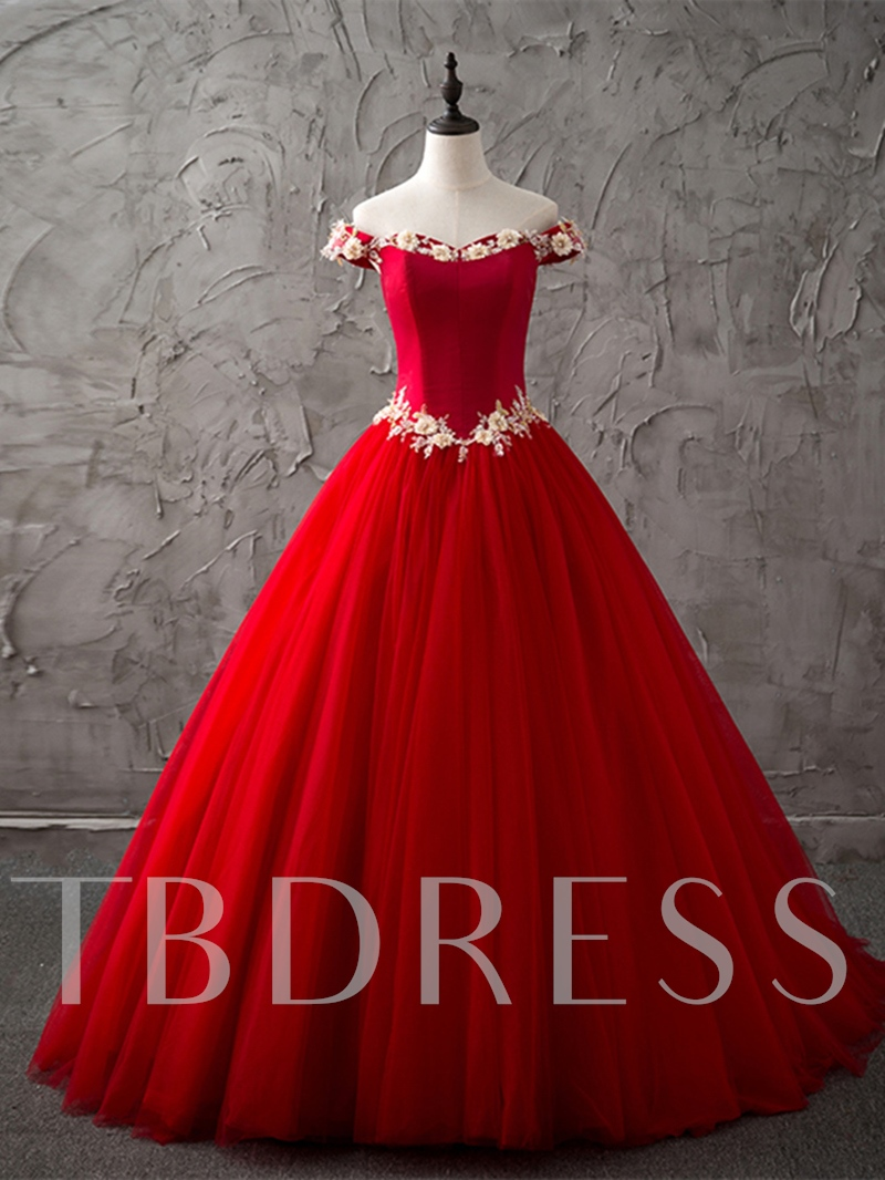Ball Gown Sleeveless Off-the-Shoulder Flowers Sweep Train Quinceanera Dress