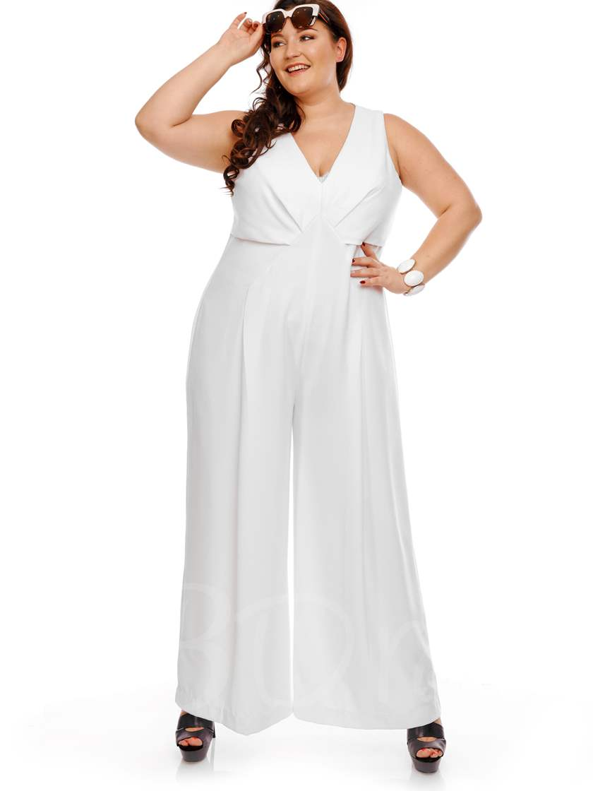 Plus Size White Wide Legs Womens Jumpsuit