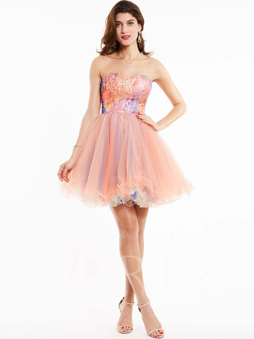 Sweetheart Lace-Up Knee-Length A Line Cocktail Dress