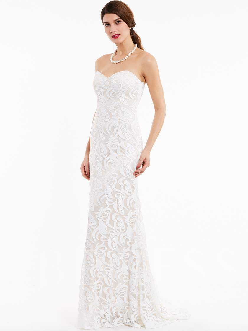 Sweetheart Zipper-Up Lace Evening Dress