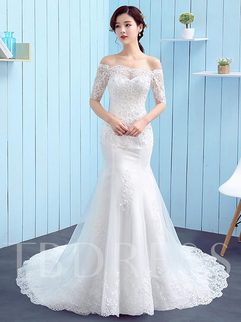 Off the Shoulder Appliques Wedding Dress with Half Sleeve ...