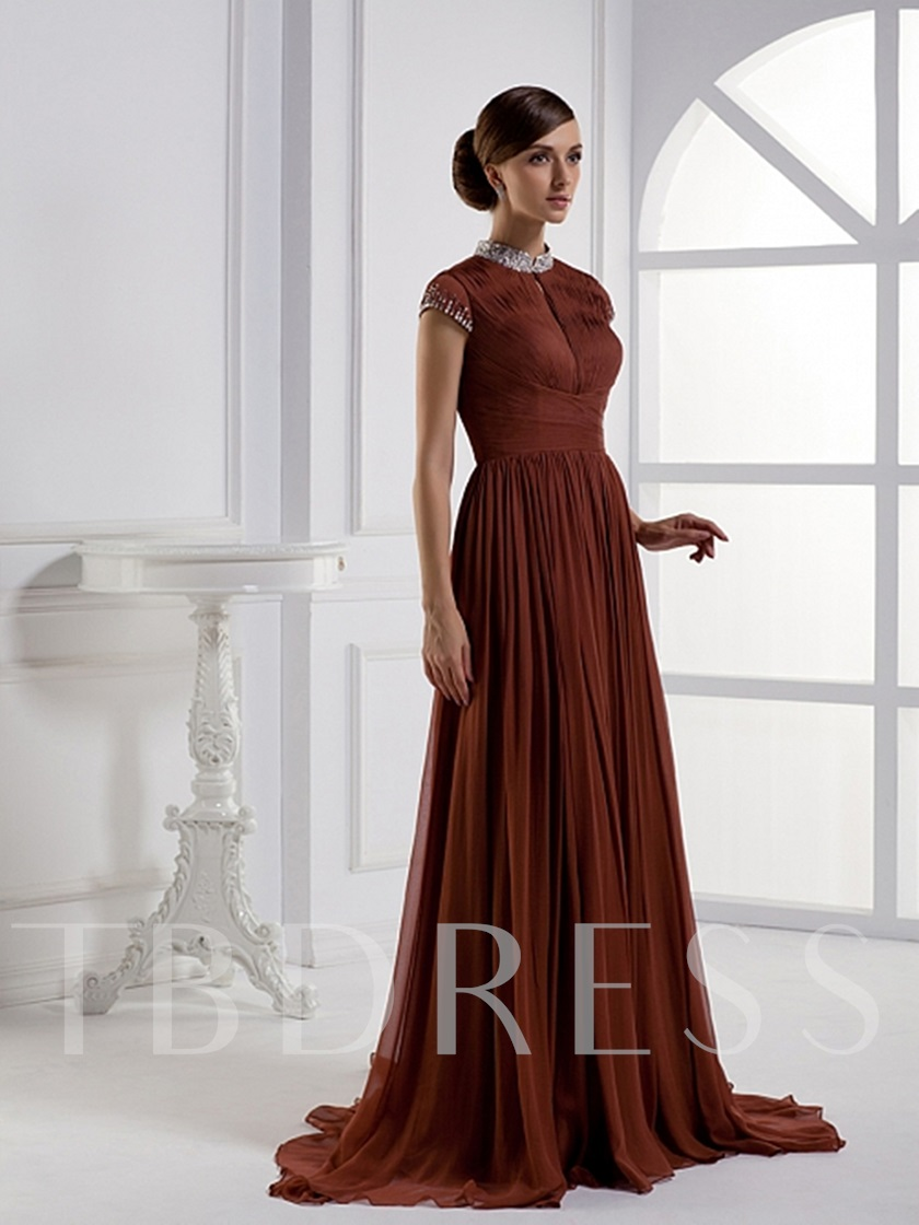 A-Line Floor-Length High-Neck Evening Pageant Dress