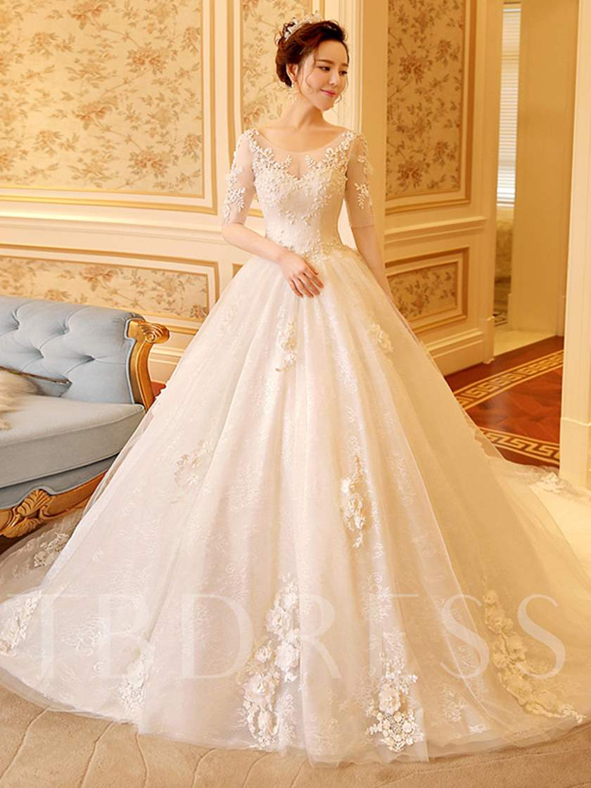 Scoop Neck Half Sleeve Appliques Lace Ball Gown Wedding