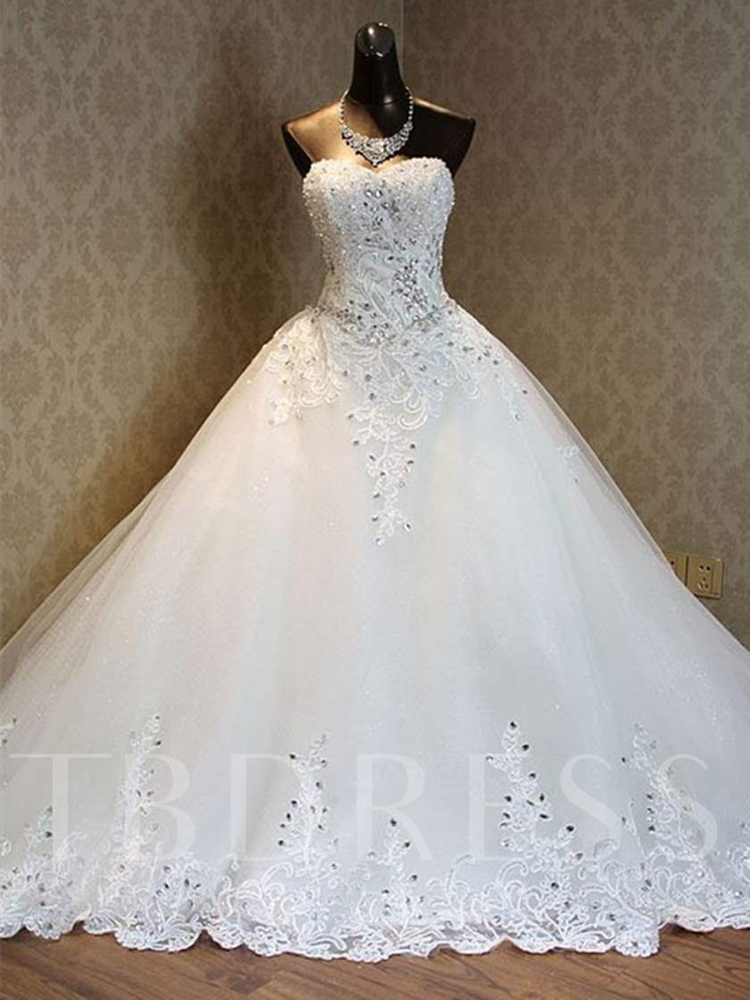 Sweetheart Appliques Beading Cathedral Train Wedding Dress