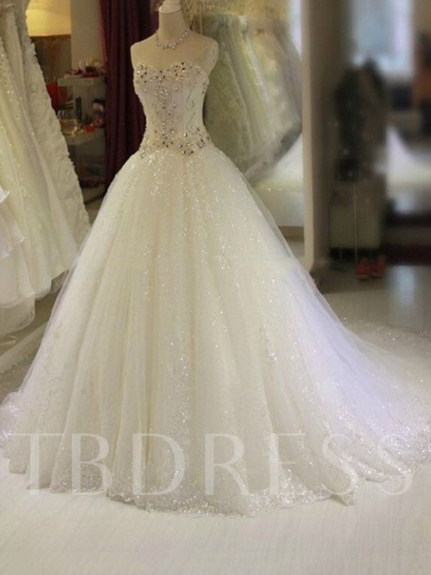 A-Line Sequined Tulle Beading Wedding Gown