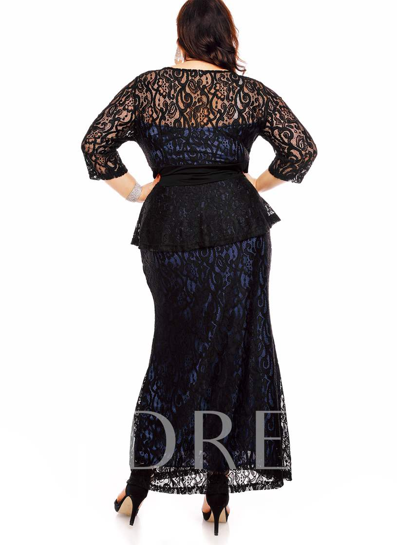 Blue Plus Size Lace Women's Maxi Dress