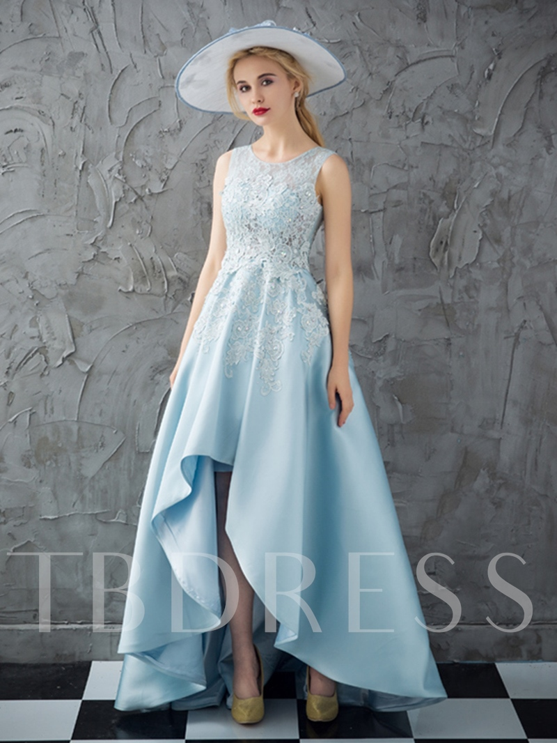 Lace A-Line Scoop Beading Appliques Prom Dress