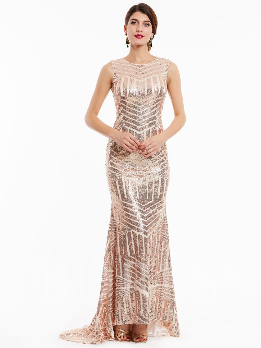 Scoop Neck Backless Sequins Mermaid Evening Dress