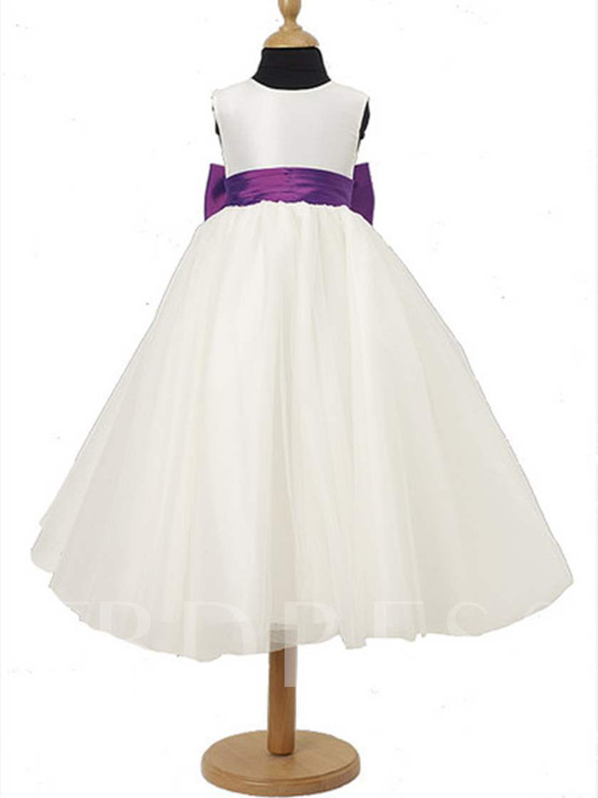 A-line Scoop Tea-length Sash Flower Girl Dress