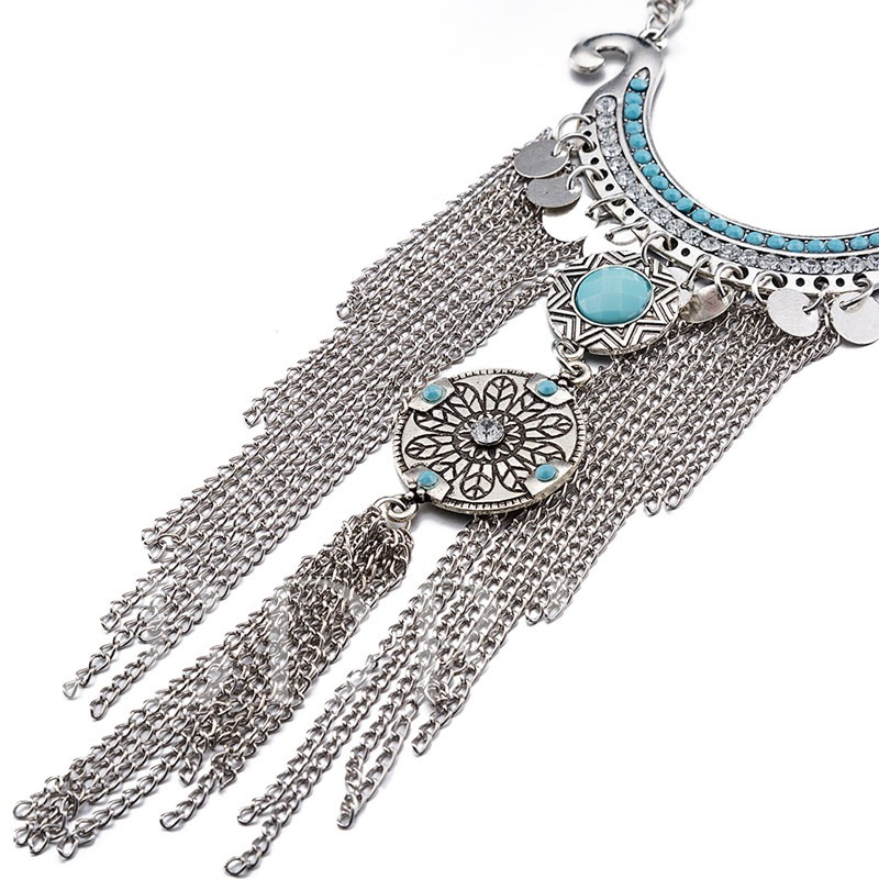 Zinc Alloy Tassels Design Hollow Retro Necklace