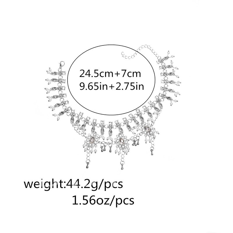 Handmade Artificial Pearls Beading Tassels Alloy Anklet