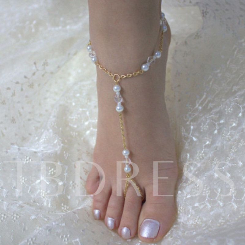 Handmade Beading Golden Chain Beach Anklet