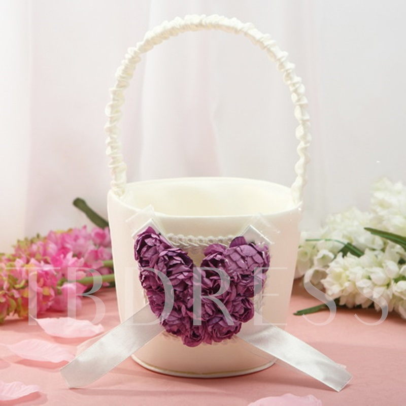 Flower Basket With Purple Rose Love