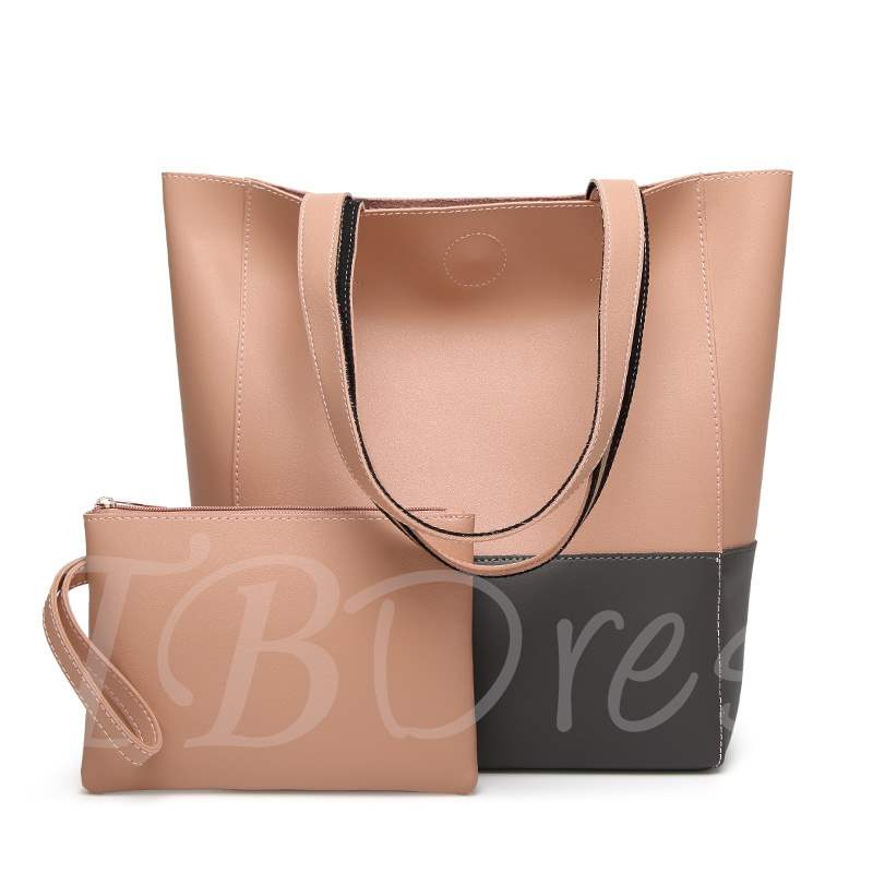 Bucket Shape Double Color Stitching Bag Sets