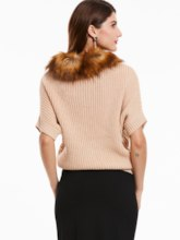 Plain Slim Turtleneck Half Sleeve Women's Sweater